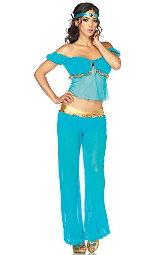 Leg Avenue Women's 3 Piece Arabian Princess Costume, Turquoise, (Princess Jasmine Costumes Sexy)