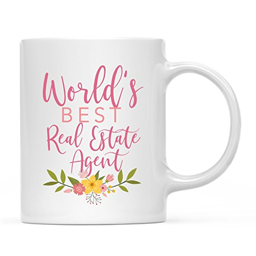 Andaz Press 11oz. Coffee Mug Gag Gift, World's Best Real Estate Agent, Floral Design, 1-Pack, Beautiful Unique Flower Coffee Cup Birthday Christmas Present Ideas for Her Women Wife Sister
