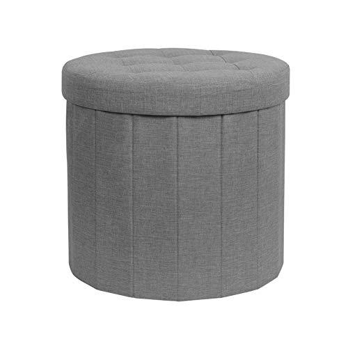 WAYTRIM Padded Storage Ottoman Folding Footstool Multi-Function Organizer Box Space-Saving Chest, Gray