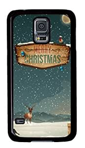 Rugged Samsung Galaxy S5 Case and Cover - Merry Christmas Raindeer Presents Custom Design PC Case Cover for Samsung Galaxy S5 - Black