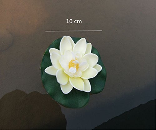 Mynse-10-Pieces-4-Mini-Artificial-Flowers-Floating-Lotus-Flower-Water-Lily-Cream