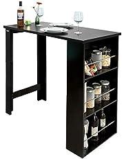 SoBuy FWT17-Sch Bar tafel Keukentafel Bartafel Zwart met 3 vakken