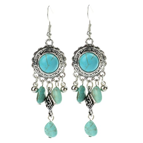 Long Turquoise Earrings (TAGOO Antique Women's Simulated Turquoise Antique Oval Round Teardrop Design Dangle Hoop Earrings (long blue 10093))