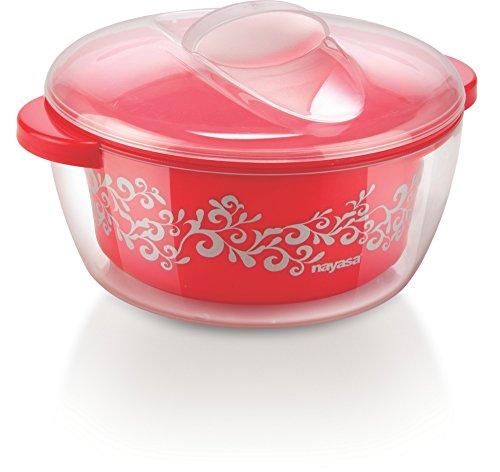 Nayasa Plastic Nova Casserole with Spoon, 1.5 Liters, Red
