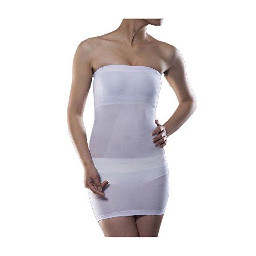 Slimate Women's Tube Slip Under Dress Seamless Strapless Full Body Slip Shaper,White,(US L) XXXL