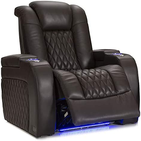 Seatcraft Diamante – Home Theater Seating – Power Recliner – Leather – Adjustable Powered Headrests – Cup Holders – USB Charging – SoundShaker – Ambient Lighting – Wall Hugger – Brown