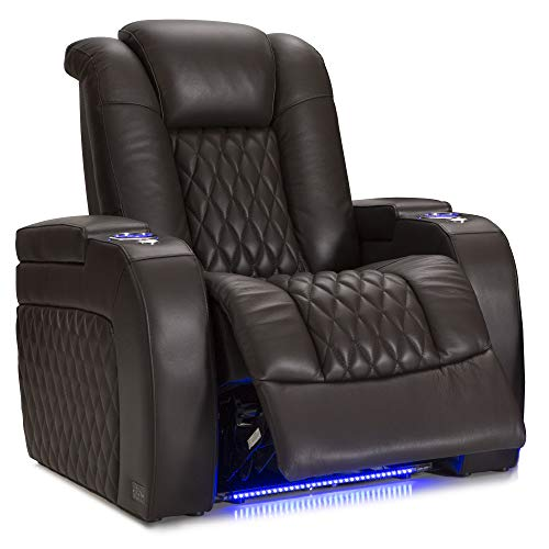 Seatcraft Diamante - Home Theater Seating - Power Recliner - Leather - Adjustable Powered Headrests - Cup Holders - USB Charging - SoundShaker - Ambient Lighting - Wall Hugger - Brown