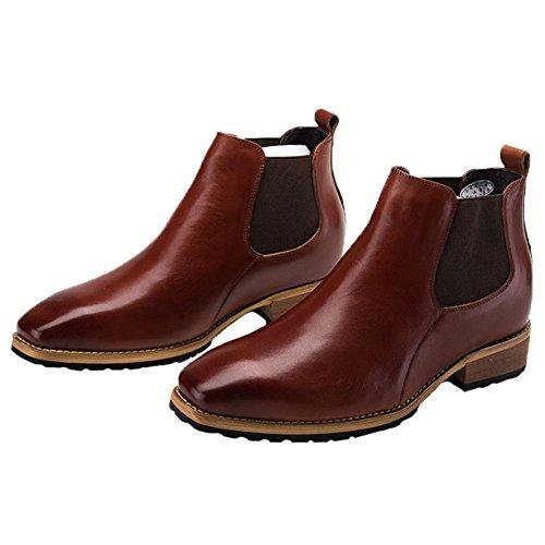 Toe Boots Brown on Round Dress Chelsea Slip Santimon Ankle Mens Leather 4qxA0EUTw
