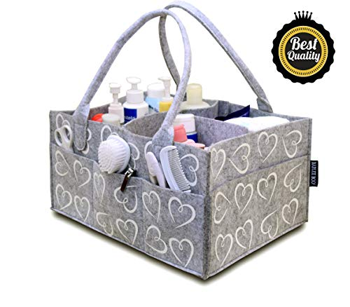 Bablee Boo! Diaper Caddy | Baby Organizer, Shower Gift for New Moms - Registry Must Haves | Extra Long Handles - White Hearts, Large 14x10x7 -