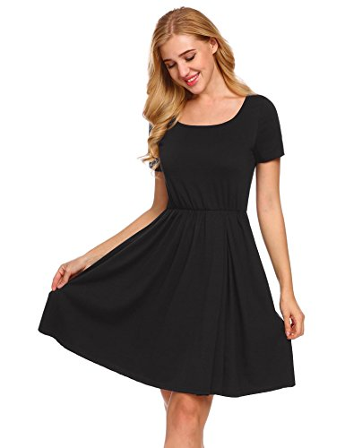 Zeagoo Women's O-Neck Short Sleeve Casual Party Fit and Flare Pleated Dress Black S
