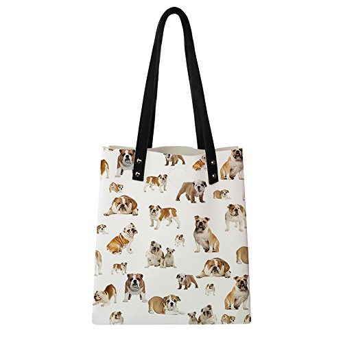 Print Women Cute Fashion Puzzle Shoulder Pug PU Instantarts Tote Bags Dog 2 Leather IgRqx4dwt