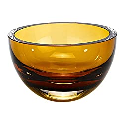 "Penelope Amber Mouth Blown European Crystal 6""D"