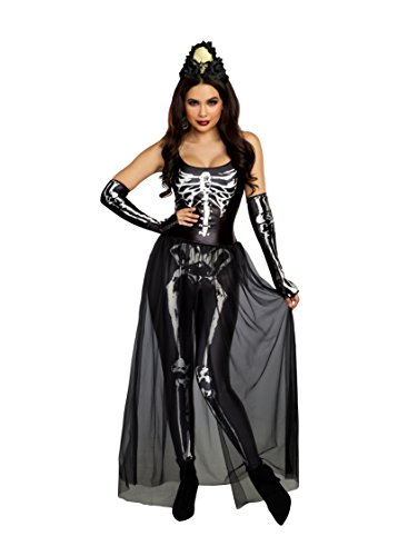 Dreamgirl Women's Sexy Bare Bones Babe Skeleton Costume Jumpsuit, Black, Small -