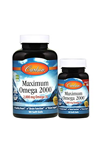 Carlson - Maximum Omega 2000, 2000 mg Omega-3s, Heart, Brain & Vision Support, Sustainably Sourced, Lemon, 90+30 soft gels (Carlson Elite Omega 3 Gems Fish Oil)