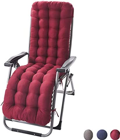 Sun Lounger Chair Cushions, Sundlight Patio Cushions Chaise Patio Outdoor Mattress Garden Recliner Quilted Thick Padded Seat Cushion Reclining Chair Rocking with Ties Wine