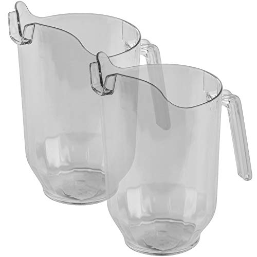(DecorRack 2 Crystal Clear Plastic Pitcher Beverage Dispenser with Pour Spout Shatterproof Catering and Restaurant Serveware for Cold Drinks, Water, Lemonade, Beer, and Sangria, 7 Cup Capacity (2 Pack))