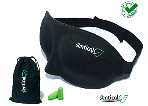 Sleep Mask by Sentical Lightweight Adjustable 3D Eye mask with Earplugs, Best for naps and Travel, Super Soft and Contoured Light Blocking Sleep Mask for A Full Night Sleep (Black)