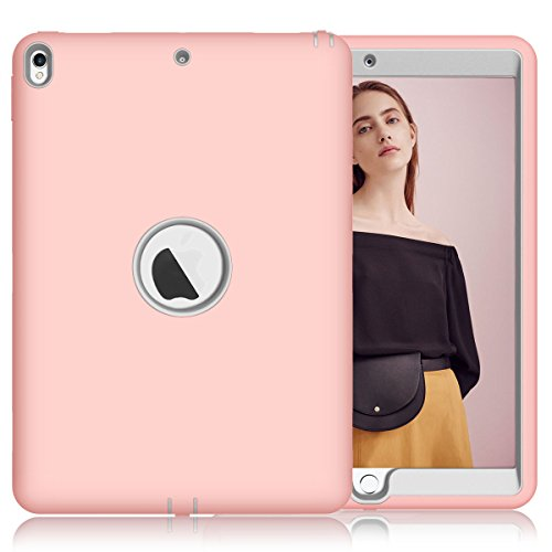 iPad Pro 10.5 Case, SUMOON [New] 3 in 1 High Impact Anti-Scratch Shockproof Silicone Rubber Hybrid Three Layer Case Full Protection Cover for Apple iPad Pro 10.5 inch 2017 Released (Pink/Grey)