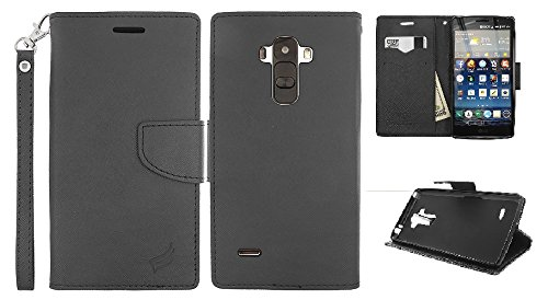 LG G Stylo (Boost Mobil LS770, T-Mobile LG H631 & MetroPCS LG MS631) / LG G Stylus LS770 (Sptint), LF 4 in 1 Bundle - Premium PU Leather Flip Wallet Credit Card Cover Case, Lf Stylus Pen, Screen Protector & Droid Wiper Accessory (Wallet Black) (Wallet Black) (For Mobile Phone Boost Lg Cases)