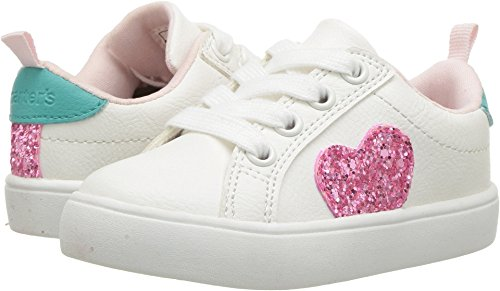 carter's Girls' Emilia Casual Sneaker, White, 5 M US Toddler