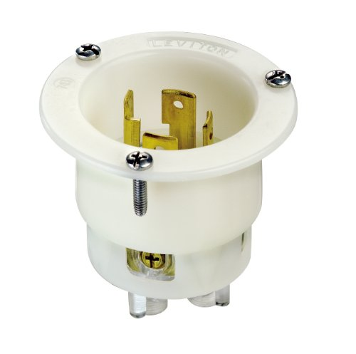 Leviton 2715 30-Amp, 125/250 Volt, Flanged Inlet Locking Receptacle, Industrial Grade, Grounding, White
