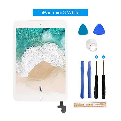 for iPad Mini 3 Touch Screen Digitizer/Front Glass Replacement with IC Chip & Tool Kit-White 7.9 Inch (Ipad 3 Mini Screen Replacement)