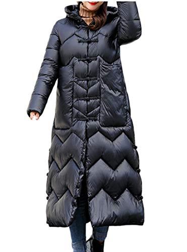 Women Winter EKU Long Black Thickened Hooded Jackets Coats Down 5dCqaC