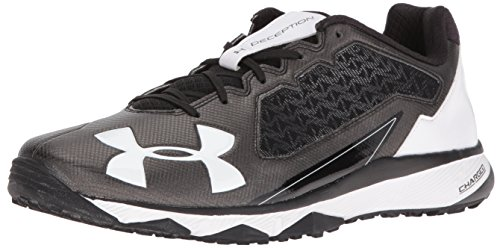 (Under Armour Men's Deception Trainer Baseball Turf Shoe, Black (011)/White, 10.5)
