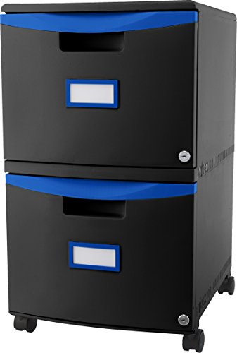 Storex 2-Drawer Mobile Filing Cabinet, 18.25 x 14.75 x 26 Inches Letter/Legal, Black/Blue (61314U01C) Drawer Letter Black File Cabinets