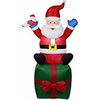 AstiVita Inflatable Christmas Santa Claus | On Present 1.8m | Decoration Indoor and Outdoor
