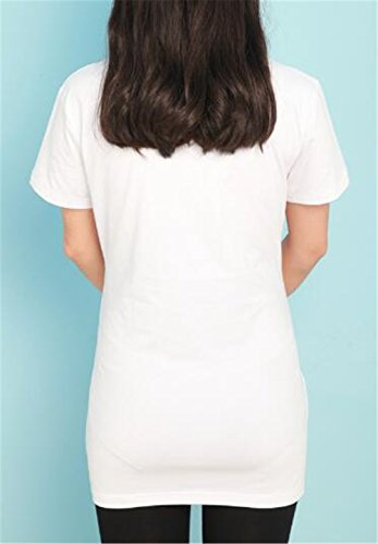 Manica Magliette Girocollo Donna T Allentato Kerlana Corta Premaman Shirt White3 Cute Stampa Top Gravidanza Pregnancy Camicie Casual Magliette Estive Bluse X0ww75qxz
