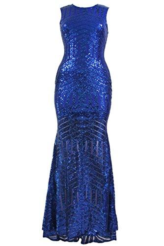 Cutepaw Sexy Paillettes Élégantes Club Partie De Trou De Serrure Retour Sirène Femmes Robe De Soirée Robe Bleu Royal