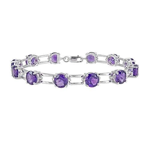 uine 14.15 Ctw Natural 7mm Round 4 Colors Gemstone Bracelet In 925 Sterling Silver (amethyst) (Ctw Amethyst Bracelet)