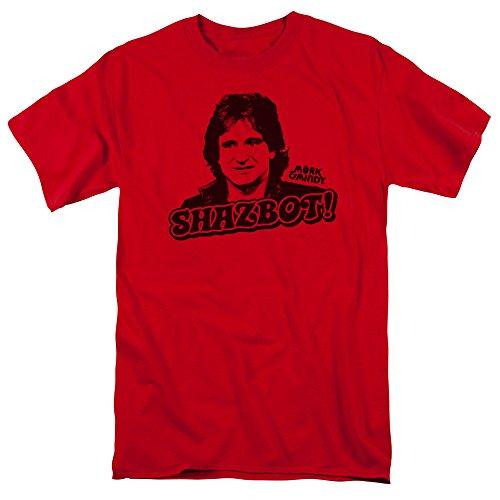 Trevco Men's Mork and Mindy Short Sleeve T-Shirt, Red, Medium