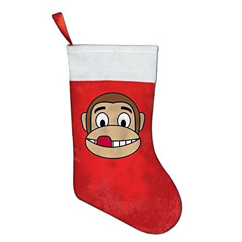 Sabina Harriman Cute Monkey Emojis Red Felt Christmas Stockings Decor for Festival Party Ornaments