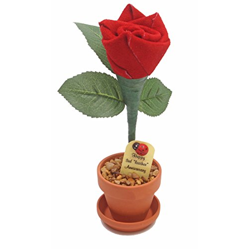 3rd Year Wedding Anniversary Gift, Potted Leather Desk Rose, Perfect Present for Wife or Husband