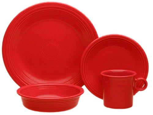 Homer Laughlin Wells (Fiesta Scarlet 831 4-Piece Dinnerware Place Setting, Service for)