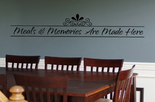 Made Applique (Wall Décor Plus More WDPM2483 Meals And Memories Made Here Kitchen Wall Decal 36x6 Inch Black)