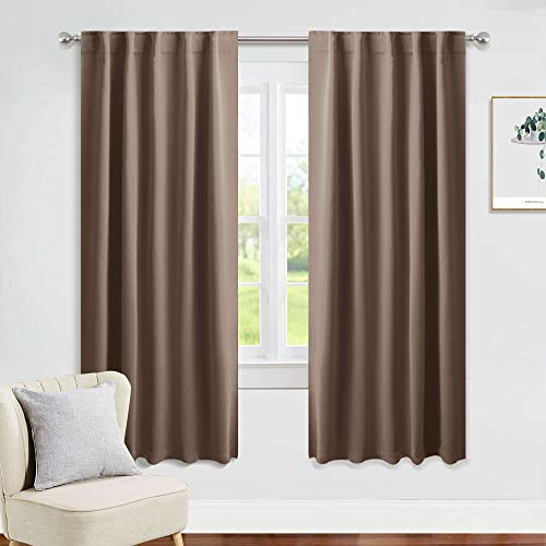 PONY DANCE Decorative Window Drapes - Blackout Thermal Insulated Curtain Draperies Home Decoration Back Tab/Rod Pocket Blackout Curtain Panels for Bedroom, 42-inch by 63-inch, Mocha, Set of 2