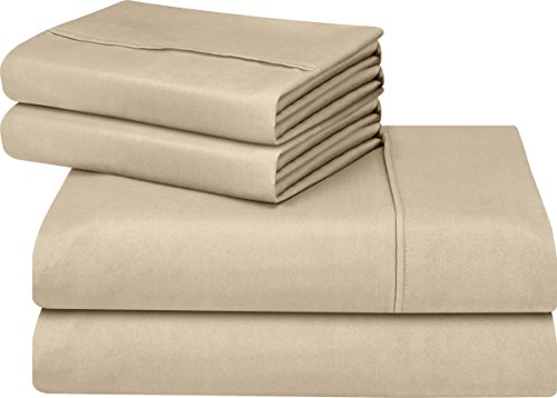 Utopia Bedding light cleaned Microfiber Wrinkle Fade and Stain repellent 4-Piece Queen Bed layer Set - Beige
