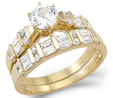 Merveilleux Size  4   New Solid 14k Yellow Gold Solitaire CZ Cubic Zirconia Two Ring  Wedding