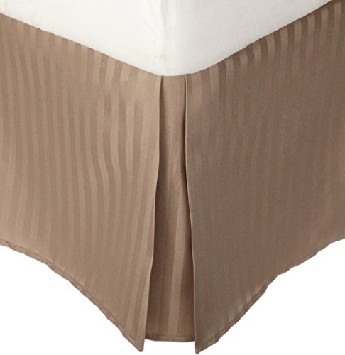 LaxLinens 300 fils cm², 100%  coton, finition élégante 1 jupe plissée de chute lit Longueur    18  )-UK, Stripe Beige Double