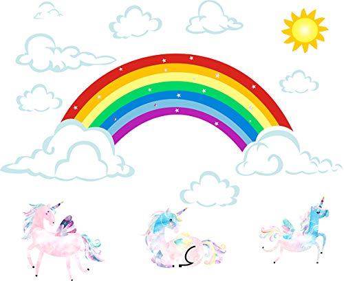 Easma Rainbow Wall Decals Unicorn Wall Decals Sun Decals Clouds Wall Decals Removable Wall Decor Peel&Stick Girls Decal Kid Nursery Bedroom Wall Stickers