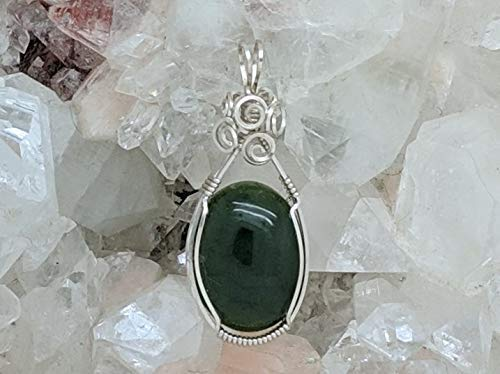 BC Jade Pendant (1-5/8 X 5/8 Inches) Wrapped With Sterling Silver Wire (Natural Stone Pendant) (Green) (Wire Wrap)
