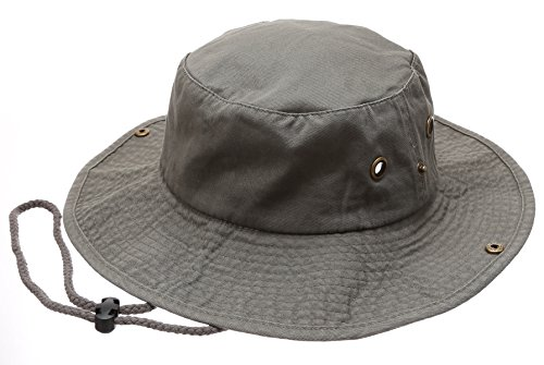 (Summer Outdoor Boonie Hunting Fishing Safari Bucket Sun Hat with Adjustable Strap(Olive,LXL))