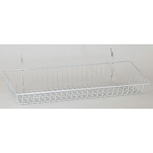 Box of 8 New White Wire Sloping basket 24''w x 8''d x 4''h back x 2''h front