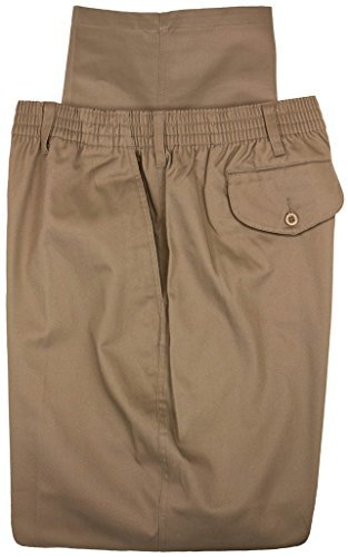 (Falcon Bay Big & Tall Men's Casual Twill Pants FULL ELASTIC Waist (44W X 30L, Khaki))