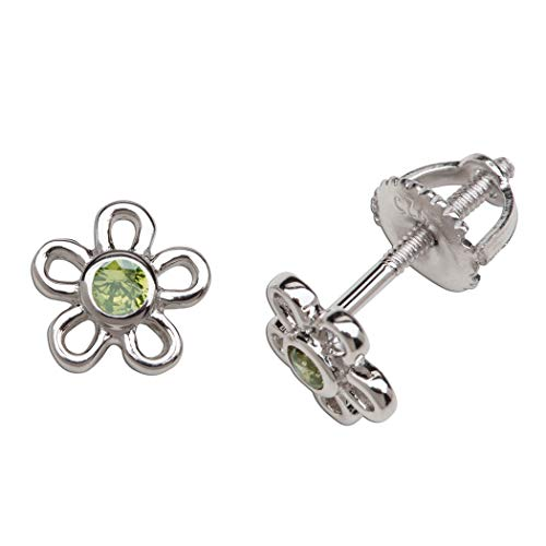 - Girls' Sterling Silver CZ Simulated August Birthstone Daisy Earrings with Screw Back (6mm)