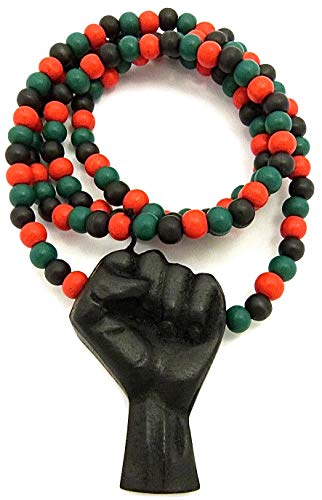 Natural Wood Pendant Necklace (BLACK/ 36 INCH RED, GREEN, BLACK BEAD NECKLACE) ()