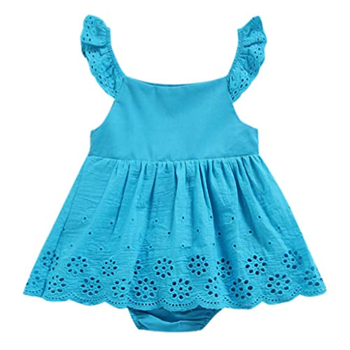 Tantisy ♣↭♣ Infant Newborn Romper Ruffle Baby Girl Toddler Jumpsuit Bodysuits One Piece Dress Age 6M-24M Blue